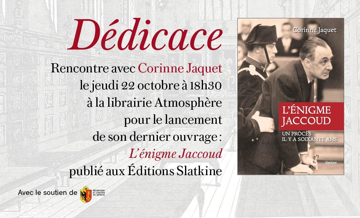 Dédicace et Rencontre avec Corinne Jaquet le jeudi 22 octobre à 18h30